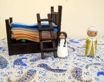 Princess and the Pea Peg Doll pair