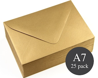 25 - A7 Gold Envelopes - Gold Metallic Euro Flap - 5 1/4 x 7 1/4 - Antique Gold