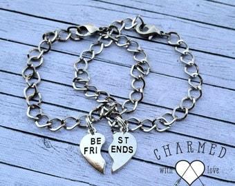 Best Friends matching bracelet set/ BFF/ Best Friend charm bracelet
