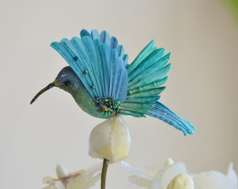 brooch textile bird - Hummingbird -  accessories