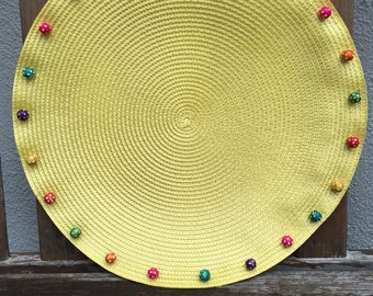 Round Placemats, Round Braided Yellow Placemats with Colorful Beads, Fun Placemats- Set of Four