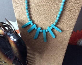 Statement turquoise and silver necklace