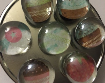 Glass magnets- cupcake and candy theme!