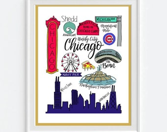 Chicago Drawings and Calligraphy print | Cubs, Navy Pier, The Bean, Wrigley, Windy City | City icons | Hand-lettered 8 1/2x11
