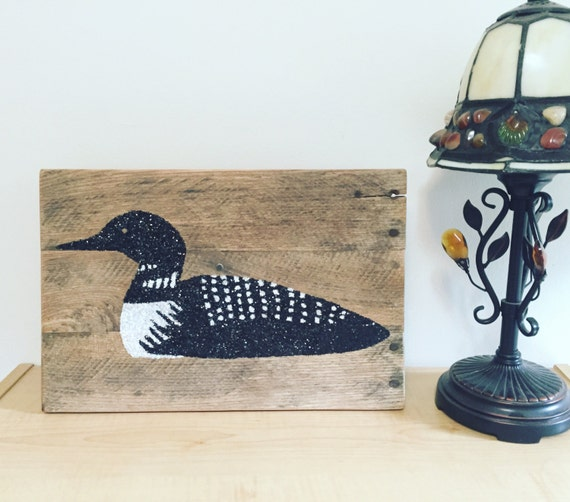 loon glitter pallet sign rustic home decor cabin decor