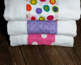 Baby girl premium diaper burp cloths - set of 3