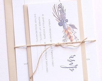 KAREN Cotton Wedding Suite - SAMPLE - Wedding Invitation, Simple Rustic Wedding Invitation, Natural Wedding Invitations