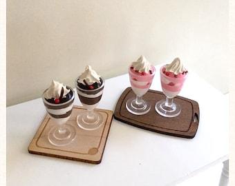 Miniature Dollhouse Chocolate & Strawberry Sundaes