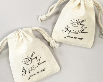 12 pcs Personalized Wedding Script Muslin Favor Bags (MICPFSCRTLM45-CL)