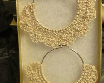 Cream Colored Crocheted Earrings on 50mm hoops!