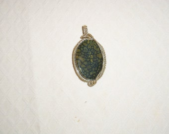 wire wrapped pendant with woven wire
