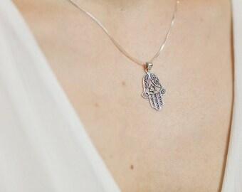 Silver hamsa pendant, Sterling Silver chain, Silver oxidized pendant,  Silver hand necklace, 925 silver, Bohemian necklace (P 9)