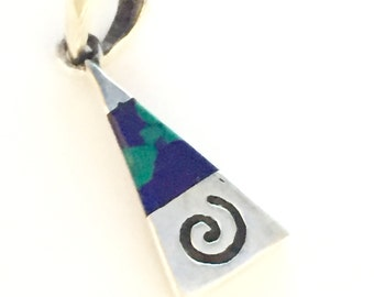 Silver Blue And Green Marble Stone Pendant, Sterling Silver Jewelry, Silver Charm, Silver Gift, Simple Charm, Boho jewelry (P33/4)