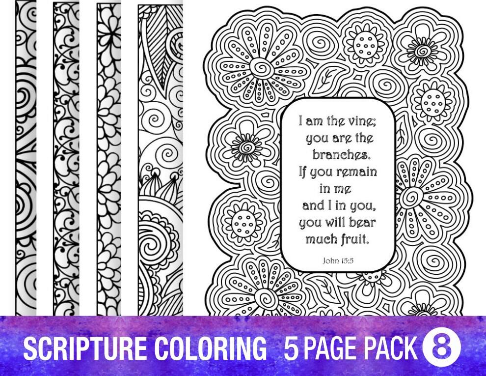 5 Bible Verse Coloring Pages Set DIY Adult