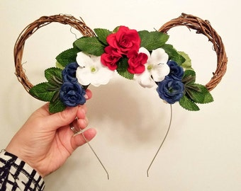 Americana Independence Day Floral Mickey Ears