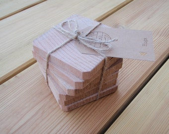 Rustic wooden coasters. Set of 6