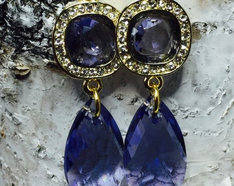 Tanzanite Swarovski Crystal  Drop Earrings