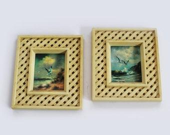 Vintage Framed Prints of Seagulls - pair