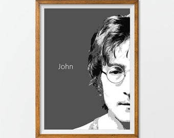 John Lennon Poster Print Art, Home Decor Gift idea