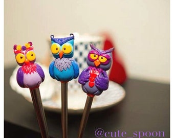 Spoon with adorable little owl