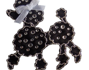 Black Jewelled Poodle Iron On Applique