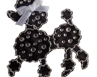Black Jewelled Poodle Iron On Applique