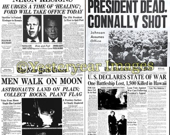 Vintage NEWSPAPER HEADLINES - Printable Digital Images - Collage Sheets - Instant Download - 3 PNG Files 4x4. 2x2. 1x1
