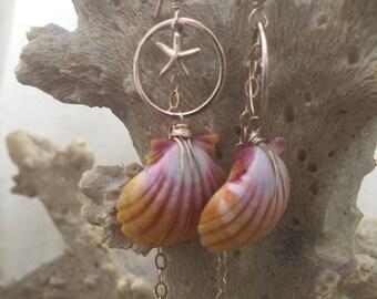 14k gold fill Sunrise Shell Mermaid earrings