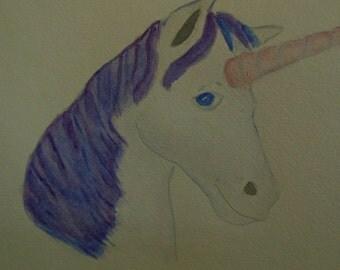 Original 9x12 watercolor painting magical unicorn