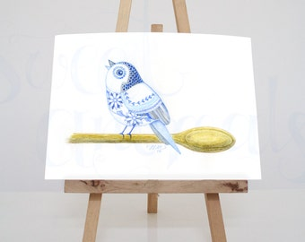 Original watercolor watercolor painting/bird/children
