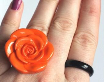 Pretty Orange Rose Adjustable Ring