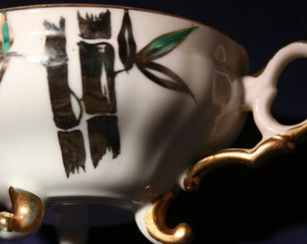 Ceramic Teacup with Hand Painted Bamboo and Feet