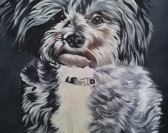 dog painting, acrylic painting on canvas,