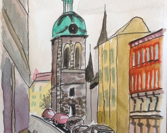 Prague Side Street 5x7in on paper