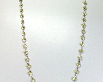 "Raindrops Necklace - Light Yellow/Rhodium 36"" Swarovski crystal"