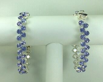 Lavender Redbud Bracelet - Swarovski Crystals, Magnetic Clasp, Silver Plate