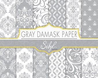 60% OFF SALE, Damask Digital Paper, Gray Damask Wedding Digital Paper, Gray and White Damask, Damask Craft Paper, Damask Scrapbook paper