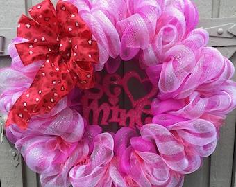 """Valentine's Day """"Be Mine"""" Mesh Wreath, Deco Mesh Wreaths"""