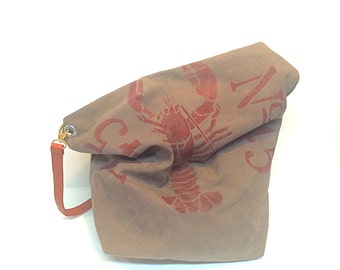hand made waxed canvas Maine lobster tote bag with liner and shoulder strap