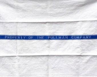 Vintage Pullman Company Towel, Vintage Hand Towel, Vintage Tea Towel, Vintage Dish Towel, Blue White Towel, Mid Century, Railroad, Train