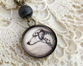 Dalmation dog pendant necklace