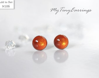 4mm Stud Orange Marmalade Earrings Round Tiny Epoxy Resin Mini Gift for Her - Stainless Steel Posts 106