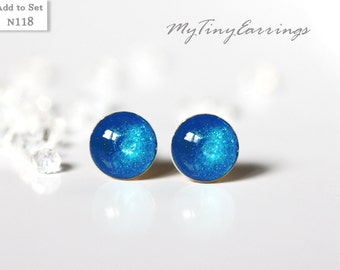 6mm Blue Azure Tiny Round Epoxy Resin Earrings Stud Mini Gift for Her - Gold Plated Stainless Steel Posts 118