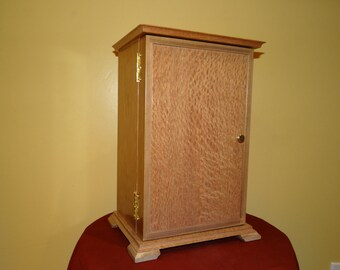 Tall Jewelry Box with Front Door - Jewelry Storage for Necklaces in Door - 3 Drawer Jewelry Box - Cherry and Lacewood - Premium Hardwoods