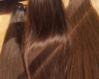 Remy human hair, European hair extensions, Natural hair, middle brown, #5 hair extensions, Human Silky Hair