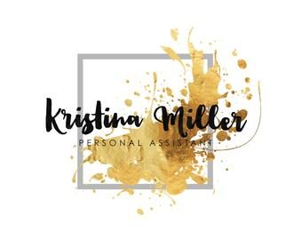 Premade Logo - Gold Logo - Predesigned Logo - Photography Logo - Feminine Logo - Melted gold - Dynamic Logo - Luxury look