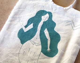 Screen printed bib MERMAID | recycled vintage fabrics | MERMADE | cotton and organic towelling | babygift, useful baby accessory