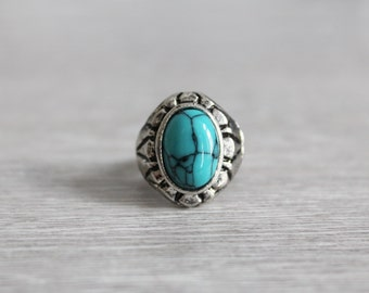 Bohemian antique silver ring with turquoise