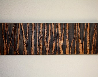 Birch Forest Wood-Burned Wall Art
