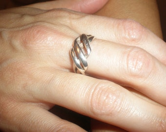 925 Vintage Silver Ring Braided Design